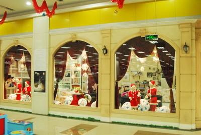 圣诞节橱窗展示设计手绘效果图