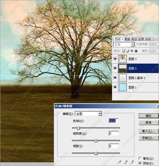 ps调出古树图片梦幻的潮流色