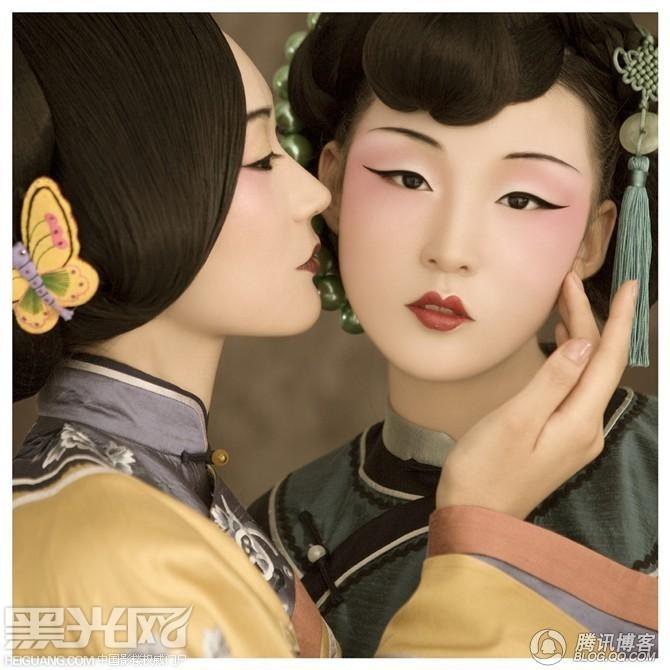 古韵中国风_化妆造型_黑光图库图片