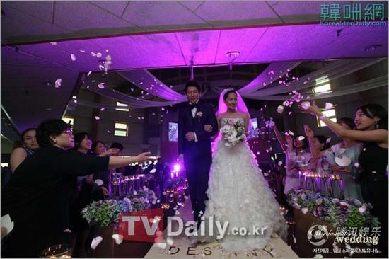 柳真与奇太映浪漫紫色婚礼 亮点甜美爱情