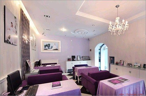 优雅紫色 时尚浪漫婚纱摄影的店面装修