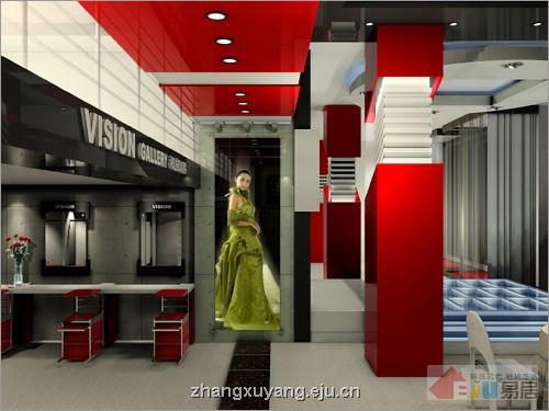 影楼空间的室内设计 夺目红色的复古摩登风