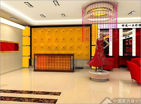 影楼时尚装修黑桃皇后篇 永远的经典红黑典雅设计 婚纱影楼装修 橱窗图片