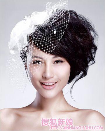 黑光新娘造型图片韩式带头纱