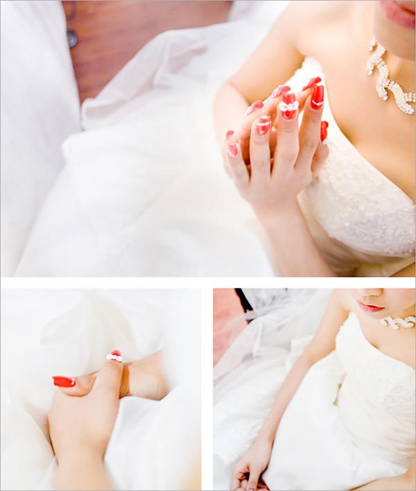 可爱蝴蝶结的水晶指甲,温婉动人的新娘,梦幻的光束和泡泡,这些浪漫