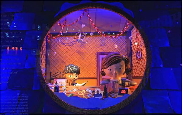 儿童影楼圣诞橱窗设计:梦幻童话世界