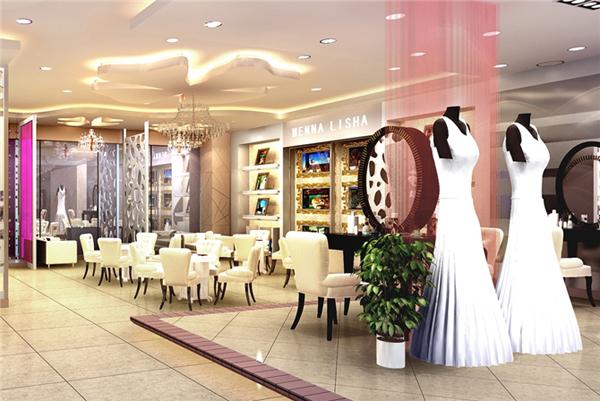 蒙娜丽莎婚纱摄影店面装修设计,静溢的纯美空间