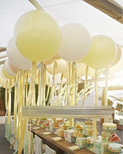 大量的氣球裝飾婚禮餐桌