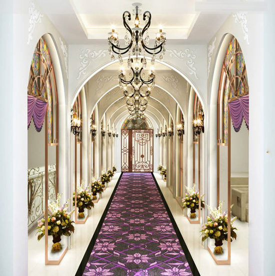 非凡婚纱影楼装修设计案例分析:此款设计打破了以往欧式深沉的色彩,使用了艳丽紫色调,把欧式风格设计融入现代设计中,暖色调时尚温馨而不突兀,但却散发出淡雅清新的味道,时尚装饰品的摆放,让整个影楼空间充满时尚、高贵、轻松、愉悦的美感。