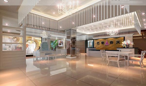 巴黎春天影楼3d设计效果图:素白清新时尚范儿