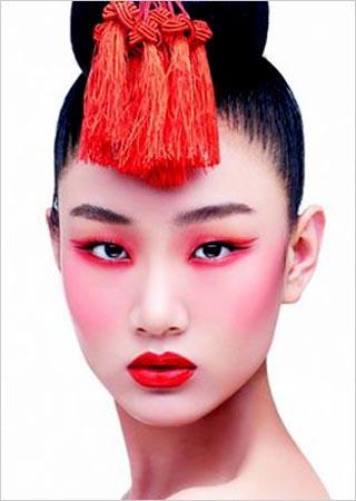 古典红妆美人 中国红新娘妆容图片
