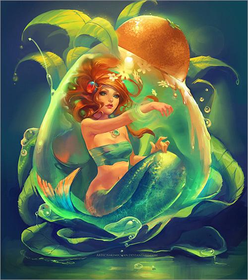 深海精灵美人鱼 精美插画作品欣赏