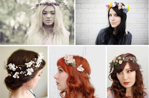 妆面赏析 > 正文     以上是各种鲜花编织而成的新娘花冠,有纯色鲜花图片