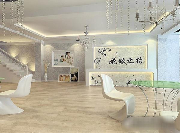 花嫁之约婚纱摄影,白色质感影楼装修设计_装修·橱窗