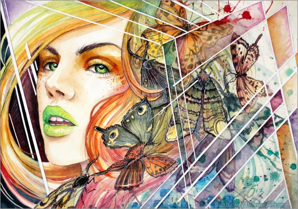 50个漂亮的水彩肖像插画设计欣赏