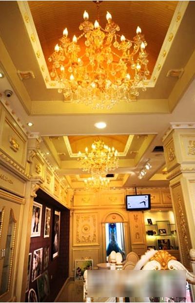 溧阳纽约纽约婚纱摄影,金色暖情调宫殿式装修设计
