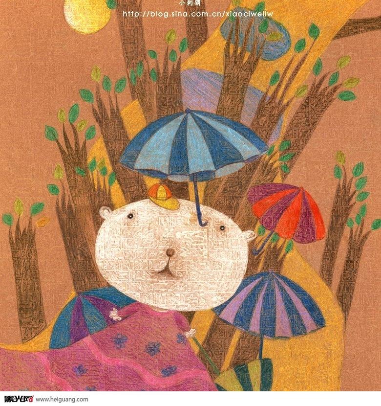 动物冬眠刺猬冬眠儿童画