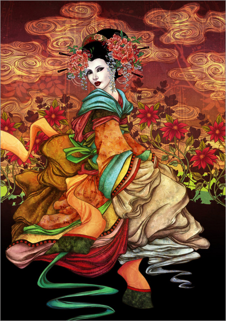 【数码欣赏】vinegar中国风华丽女性手绘插画欣赏