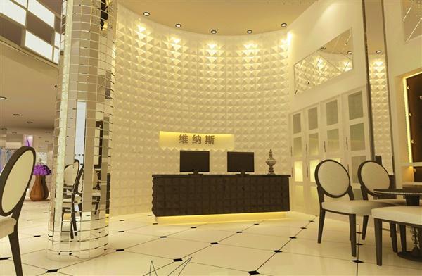 宁波维纳斯婚纱摄影采用了现代版欧式装修设计风格,点型的欧式风格家具点缀在影楼大厅中,简欧中融入了时尚元素,精美门市接待背景墙,透过立体的装饰效果展示,在灯光的映衬下,增加了空间的动感与质感,同时突显了影楼华贵的气魄。