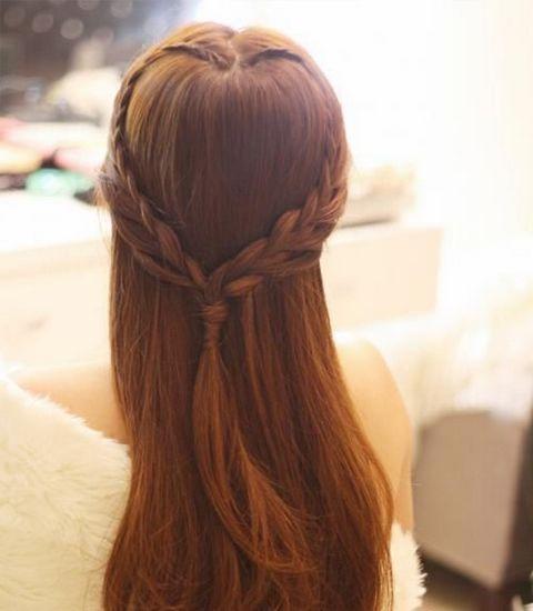 心形的编发,浪漫的造型,披肩的长发最有女人味!