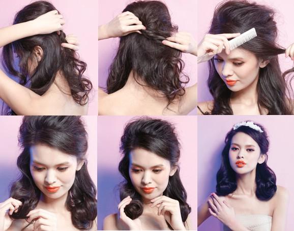 简单新娘发型步骤   1、留出刘海儿的位置,其余的上半部分头发轻轻拉起,制造一个鼓鼓的头顶发包。   2、用手拧转这绺头发,然后用夹子固定在脑后。   3、梳顺你的刘海儿,最好在喷上定型喷雾后,用细齿梳轻轻刮顺,制造复古的质感。再将它固定在后脑勺。   4.将你余下的头发分成两份,每一份都用食指做中心,将头发慢慢地卷成发卷。   5、下夹子,这个夹子要横向地插入发卷,才能让发卷变得固定和牢靠。还可以在发卷内多用几个夹子,从外面是看不出来的。