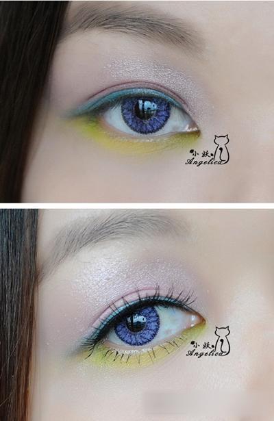 巧画大眼妆步骤图解 韩国冰激凌撞色妆容