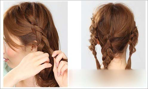 发型图解 中长发编发