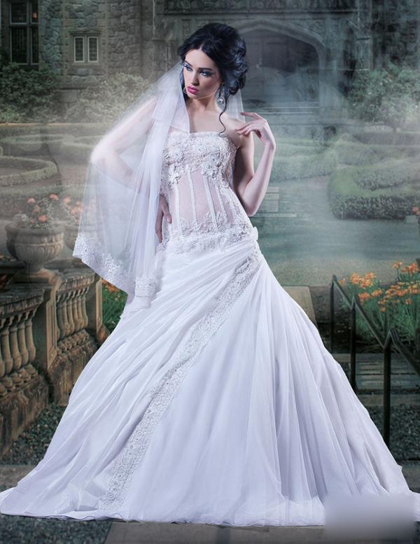 婚纱礼服 新娘造型 头纱图片