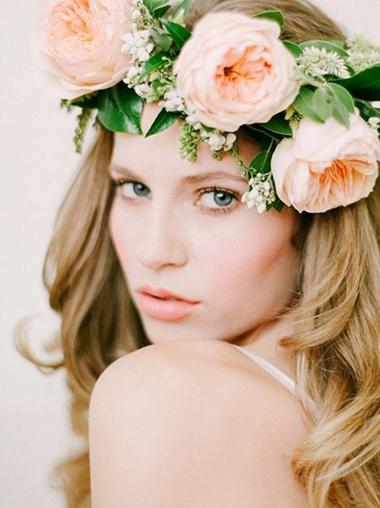 森系新娘造型 唯美花环头饰