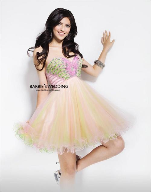 短款新娘礼服造型 展现俏皮可爱形象(4)