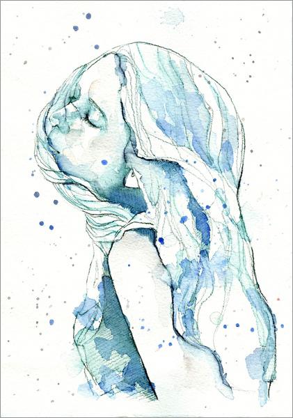手绘水彩少女插画设计欣赏(4)