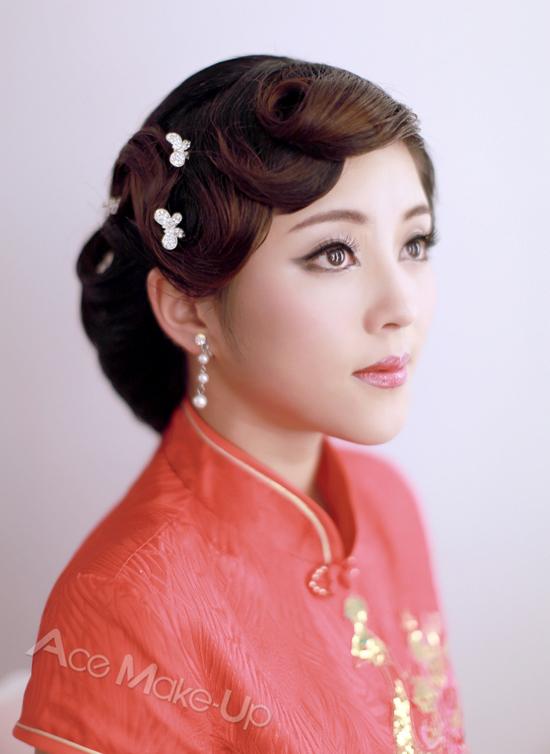 中国风短发新娘发型分享展示图片