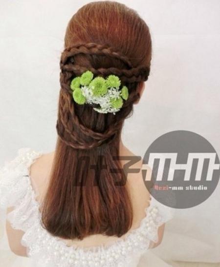 新娘编发发型 散发花漾森女气质