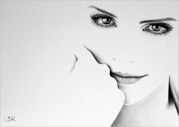 人像铅笔画素描:双瞳剪水