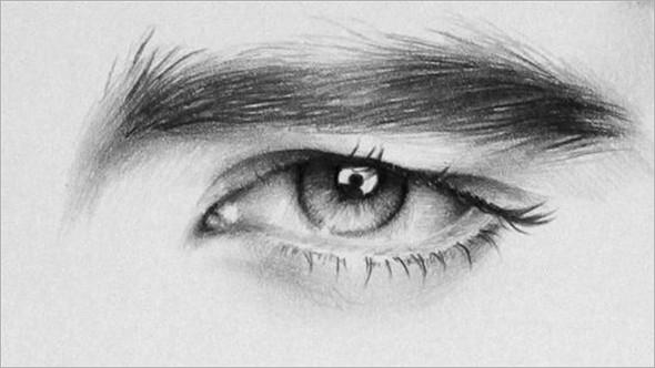 人像铅笔画素描:双瞳剪水(9)_设计欣赏_影楼数码_黑光