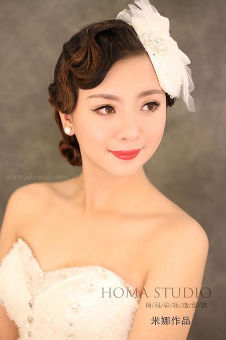 时尚新娘男生v男生+复古打造型发型新娘铅笔头发型图片
