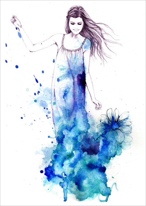 sarah bochaton时尚水彩人物插画设计