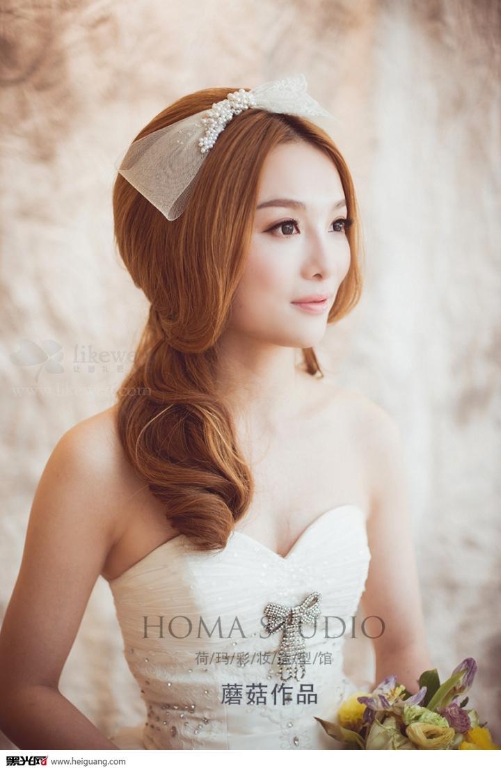 简洁韩式新娘妆发图片
