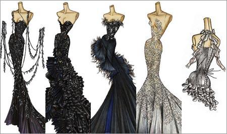 这是几张服装效果图,不是的versace 礼服,不过很漂亮
