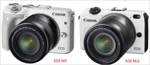 佳能EOS M3/佳能EOS M2外观对比