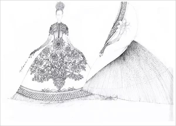 手绘古装公主嫁衣