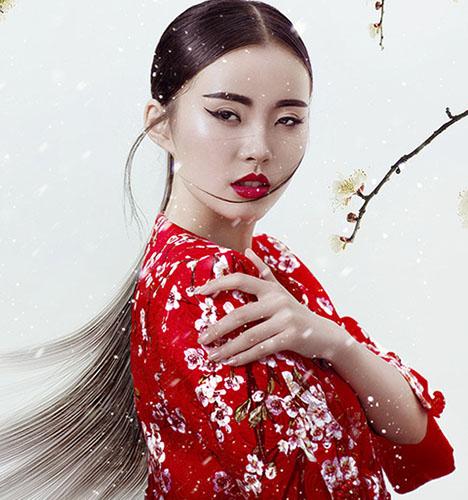 中国风妆面造型 竹林图片