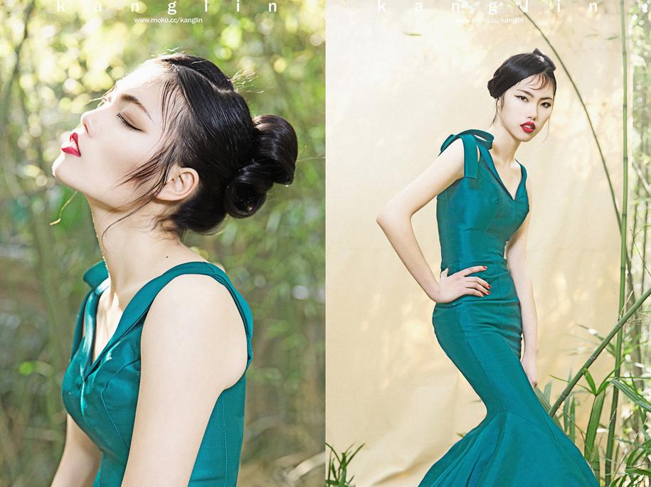 中国风妆面造型 竹林 化妆造型图片
