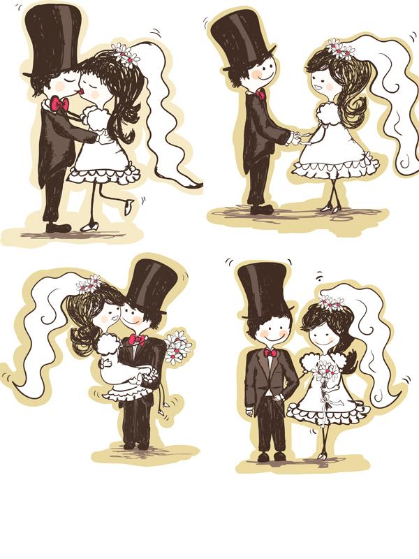 创意婚礼——可爱手绘卡通新郎新娘矢量素材
