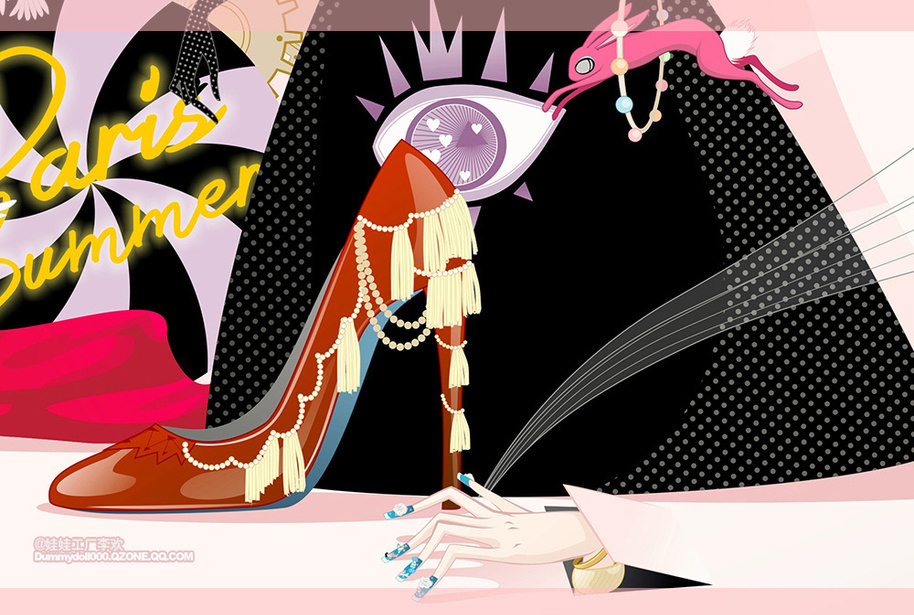 马戏团少女 插画图片