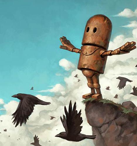 可爱机器人插画 插画图片