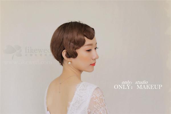 短发新娘的造型欣赏图片