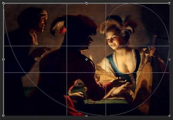 17世纪Johannes Vermeer的画作,精准的黄金比例构图 误区8:人眼最受交错点吸引?   三分法构图理论提出画面中4个交错点最能吸引目光,Glover就认为这是一个误区,因为事情不是这样简单,吸引目光的因素有很多,例如只要用了上面提过的主体-背景对比(GAC)原则,主体在画面中够大,不管处于哪个位置都能够吸引人。