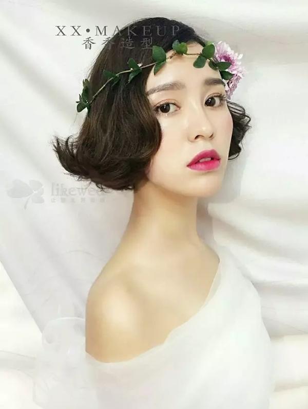 清新复古的韩式短发新娘造型(2)