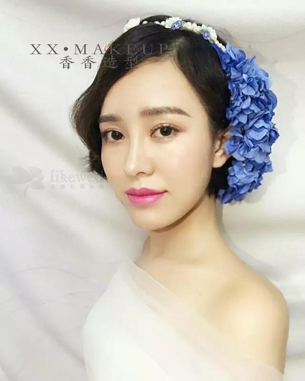 清新复古的韩式短发新娘造型(3)_妆面赏析_影楼化妆